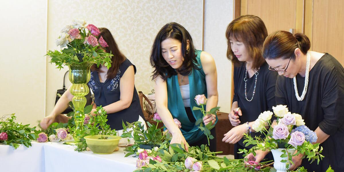 一般社団法人Flower Works Japanの周年パーティでの装花の様子